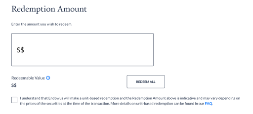 Withdraw From Endowus Select Amount