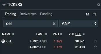 Bitfinex CEL Token Trading Pairs