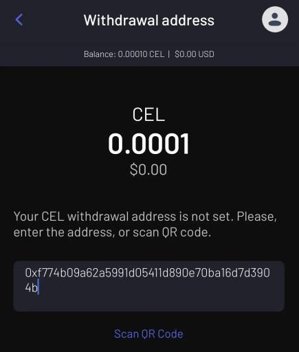 Celsius Withdraw CEL Token From App