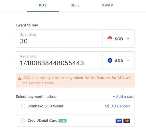 Coinhako Buy Cardano Platform