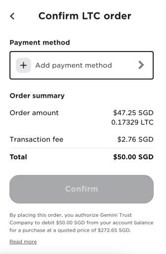 Gemini Exchange Buy LTC