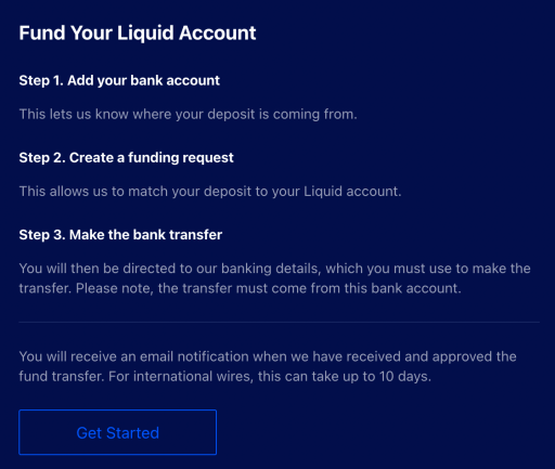Liquid Funding Your Account Instructions