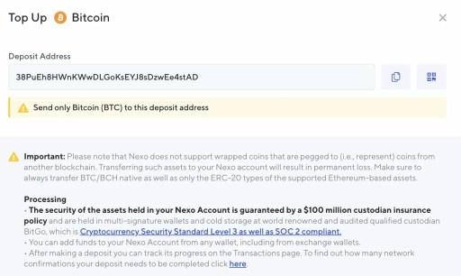 NEXO Deposit BTC