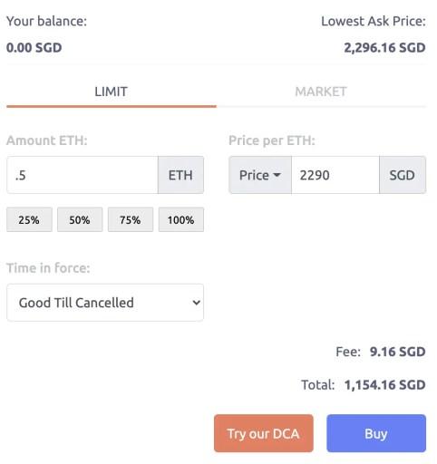 Tokenize Buy ETH Limit Order