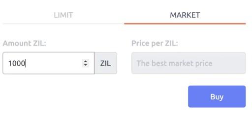 Tokenize Buy ZIL Market Order