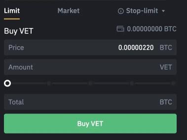 Binance Buy VET From BTC