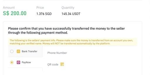 Binance P2P Singapore PayNow Method
