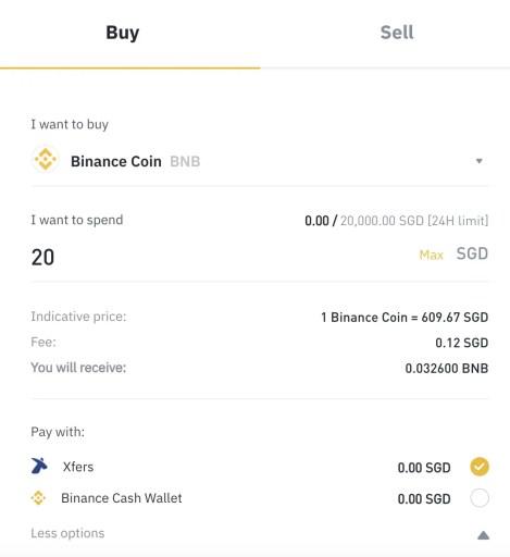 Binance Singapore Buy BNB