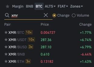 Binance XMR Trading Pairs