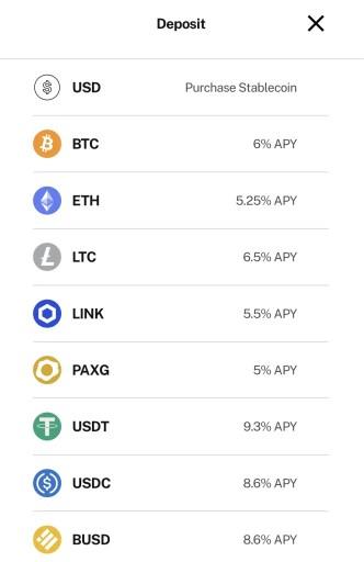 BlockFi Choose Currency To Deposit