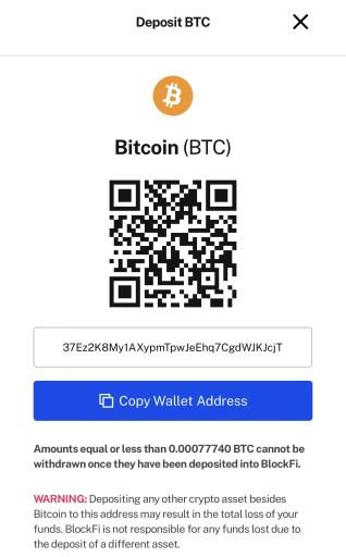 BlockFi Deposit Currency Address