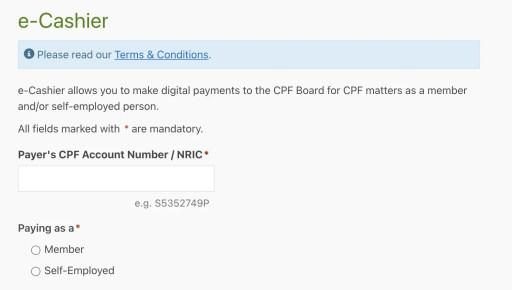 CPF Top Up OA E Cashier Enter NRIC