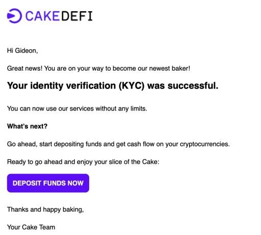 Cake DeFi Successful KYC Application