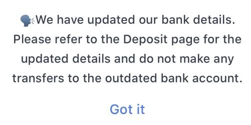 Coinhako Announcement Change Bank Details