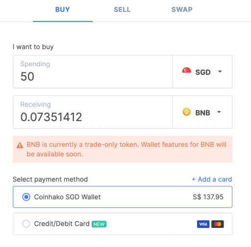 Coinhako Buy BNB