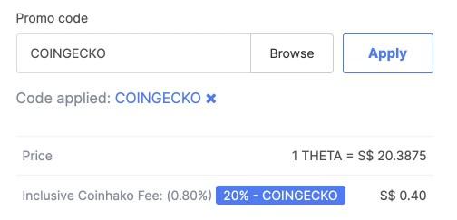 Coinhako Buy Theta Fees Coingecko Promo