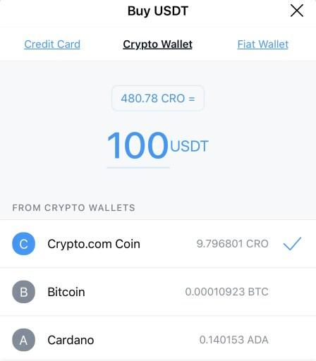 Crypto.com App Buy USDT With Crypto Wallet