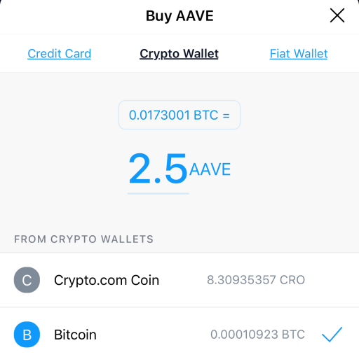 Crypto.com Crypto Wallet Use To Buy AAVE