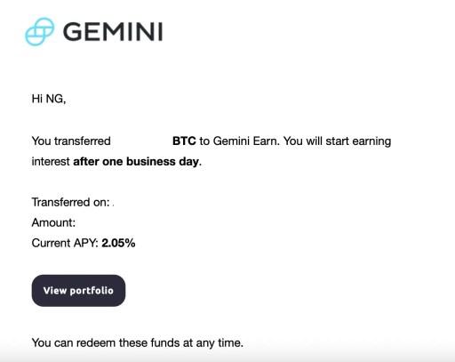 Gemini Earn Successful Transaction 1