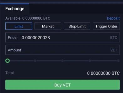 Huobi Buy VET From BTC