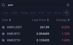 Huobi XMR Trading Pairs