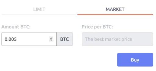 Tokenize Buy BTC Market Order