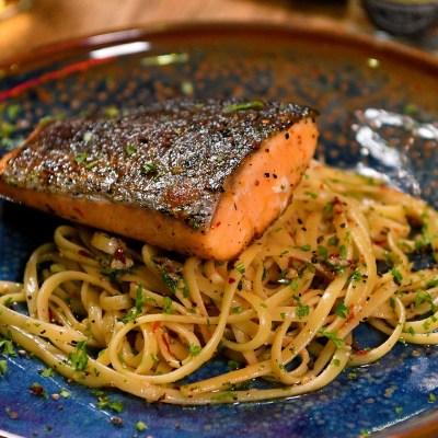 Grilled Salmon Linguine