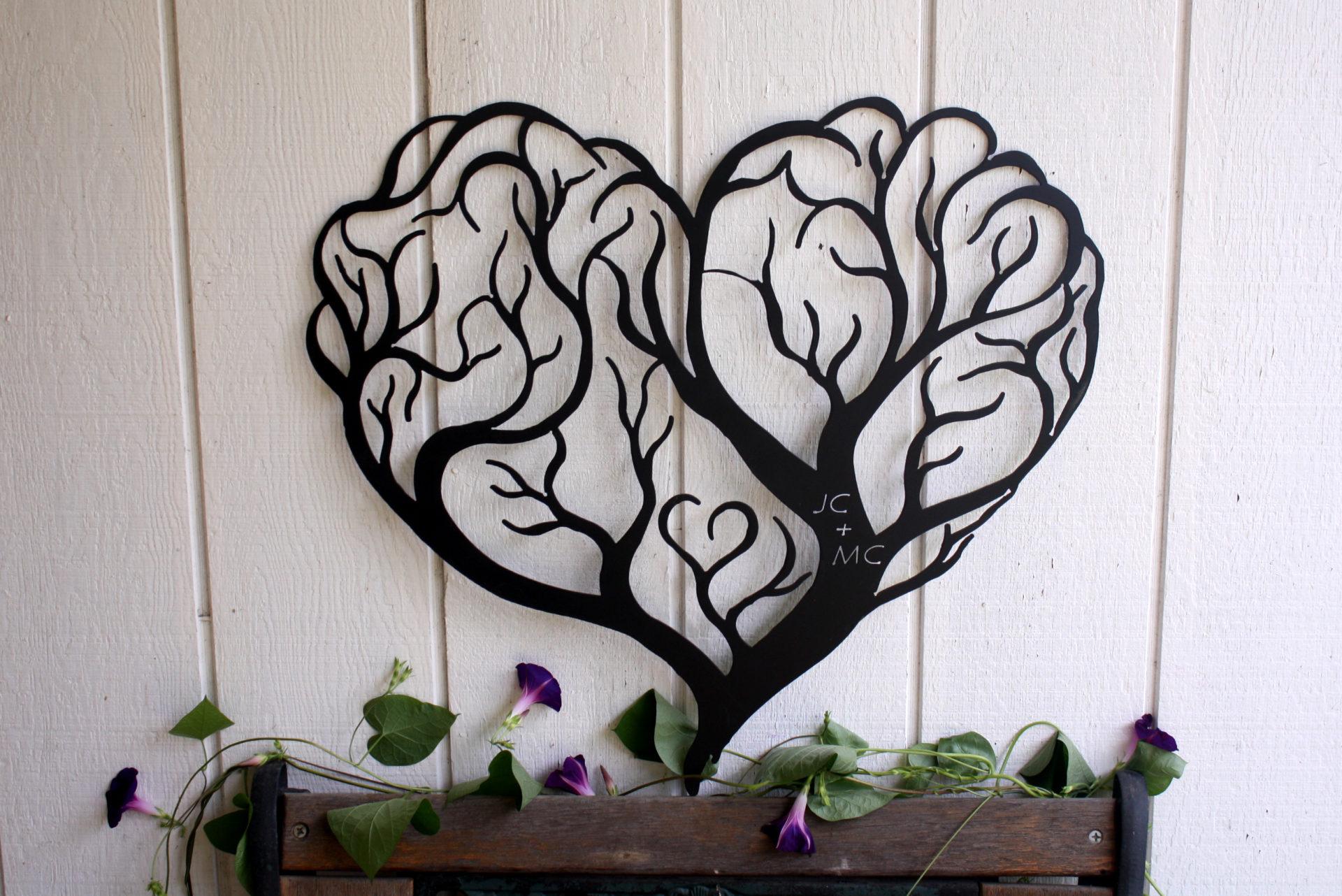 Custom Heart Tree Metal Wall Art Sign