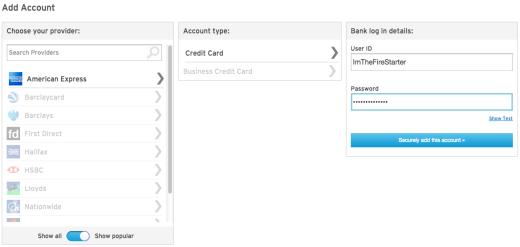 MoneyDashboard - Adding new account