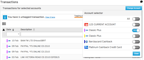 MoneyDashbaord - Selecting Specific account transactions