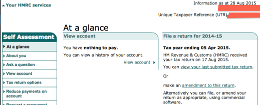 Self assessment tax return home page
