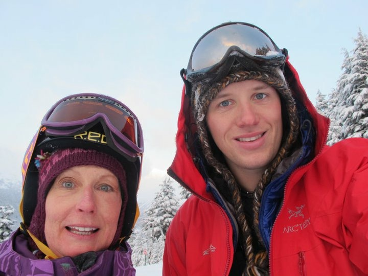 Clint skiing with mom at Alyeska