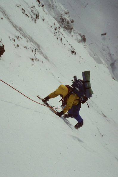 A climber ascends the west face of Mount Deborah. 1980 (Photo: Charlie Sassara)