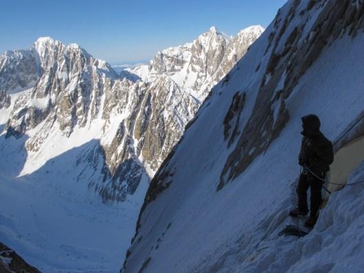 Jason Stuckey on the 1st ascent of the west face of Apocalypse Peak. Photo: Clint Helander