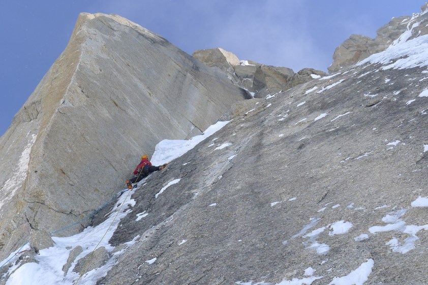 """Helander leading """"The Prow"""" on the Moonflower Buttress of Mount Hunter in 2012. Photo: Ryan Johnson"""