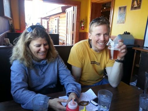Lisa and Mark celebrate the end of another Alaska climbing season. July 2013 (Photo: Westman collection)
