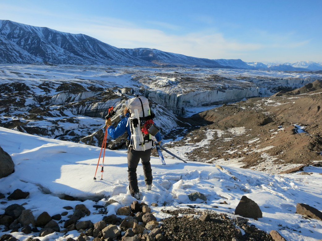 Katie Strong on Nabesna Glacier during the 2013 Wilderness Classic (her first). Photo: John Wros.