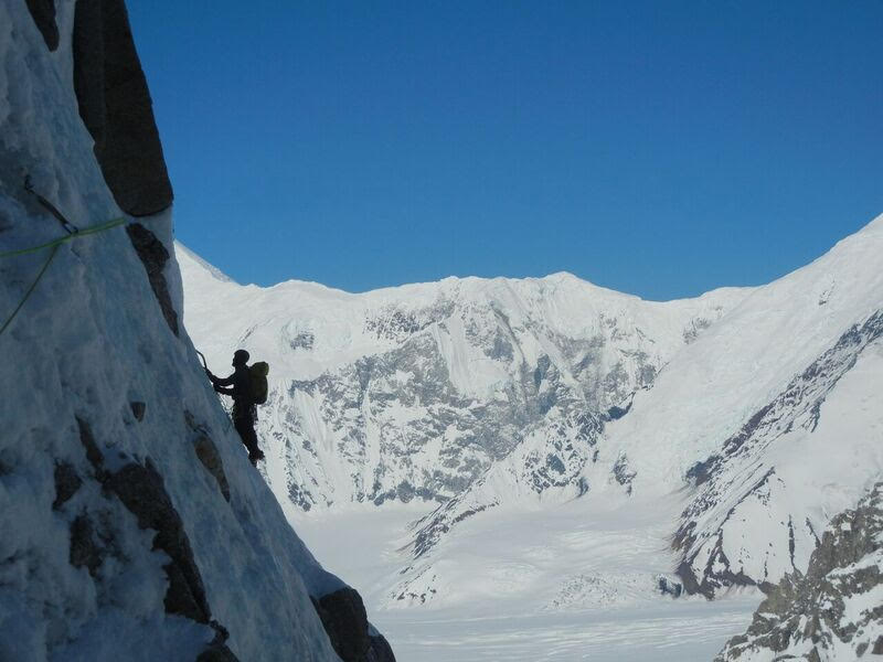 Ryan Johnson on Tamara's Traverse. Moonflower Buttress, Mt. Hunter AK. Photo: Gabe Hayden