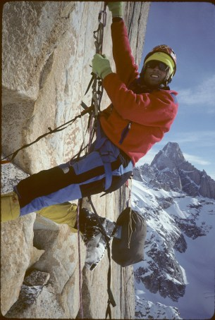 "After the first day on Middle Triple we camped on a small ledge. The next day was the end of the headwall and we had to jug our lines to get back to the highpoint. What cracks me up 27 years later is the knotted 9/16"" tape aiders we used. It was all part of the deal to minimize weight. The idea was we would un tie them and use the webbing as part of the anchors on the descent. The trip had all the components of a successful adventure. We ran out of food, startled a brown bear just out of hibernation and had to cross a swollen river on the way out. Photo: Conrad Anker collection / Seth Shaw."