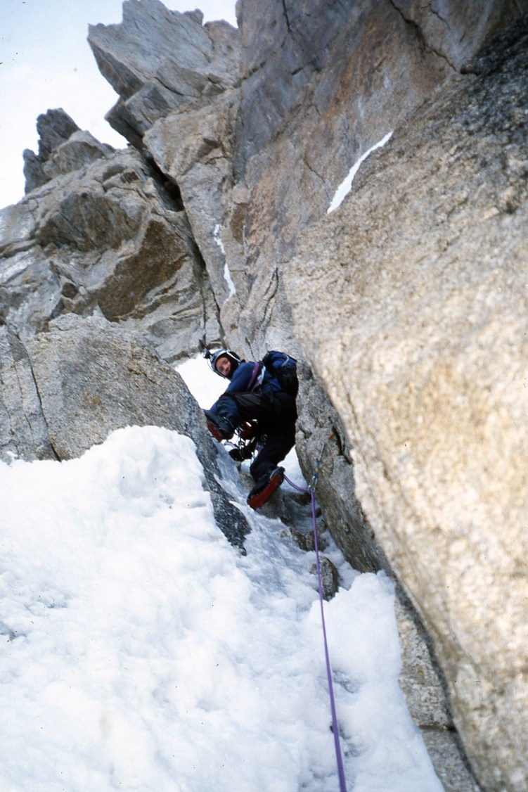 Malcolm Bass on Kahiltna Queen/Humble Peak. Photo: Simon Yearsley