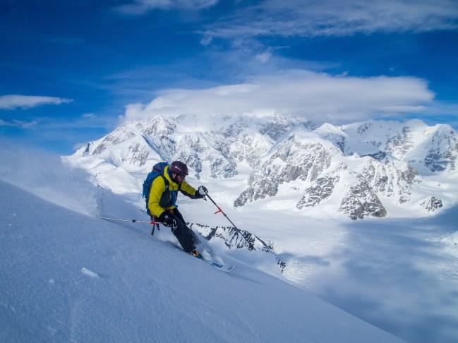 Noah Howell skiing Mount Crossen, AK.