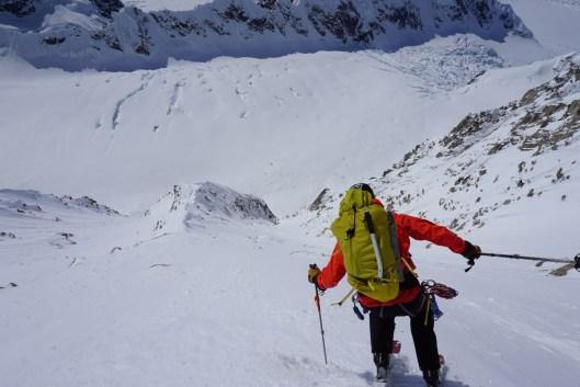 Skiing Ramen Couloir, Mount Hunter, AK.