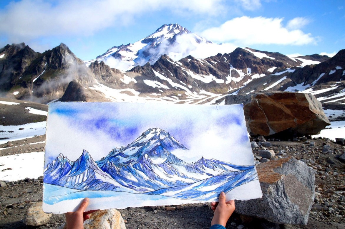 Painting from high camp of Glacier Peak.