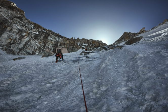 Malcolm (lower) and Paul Figg on the second day on Janhukot c 6000m. Photo: Guy Buckingham.
