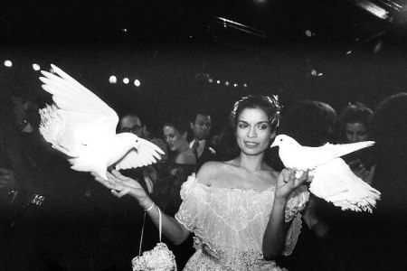 12 Dec 1977, Manhattan, New York, New York, USA --- Model Bianca Jagger holds doves while at a party thrown by fashion designer Halston at Studio 54. --- Image by © Bettmann/CORBIS