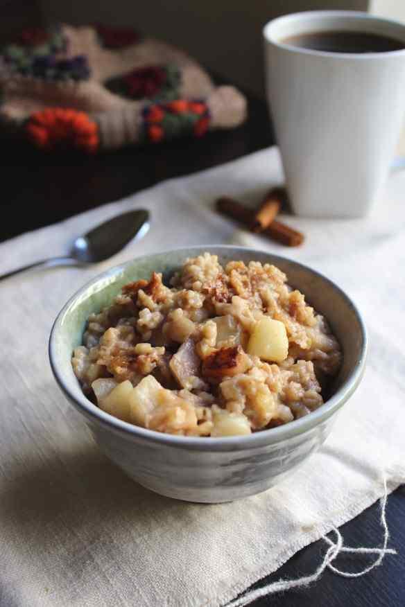 Overnight Slow Crock Oatmeal - Cinnamon Apple