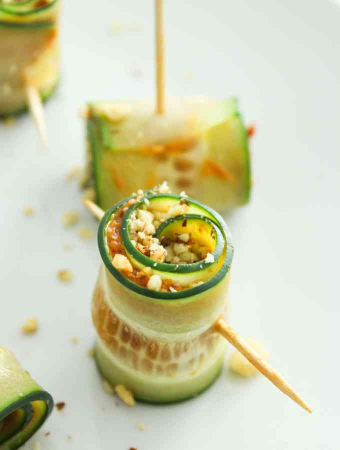 Vegan Cucumber Pinwheels with Sun Dried Tomato Pesto
