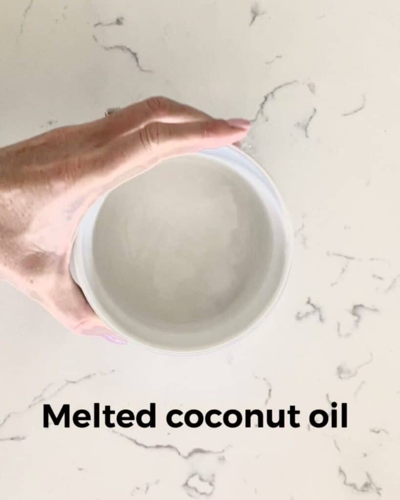melted coconut oil in a bowl