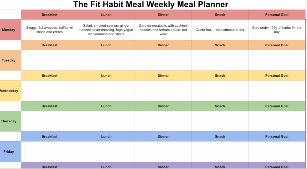 meal planning template