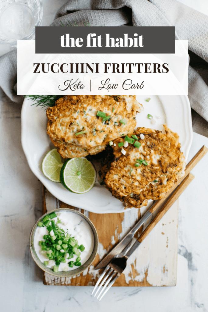 zucchini fritter recipe, low carb, vegan, keto